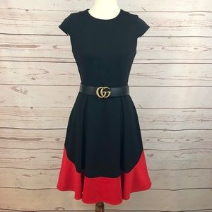 Calvin Klein Red Black Colorblock Flare Dress